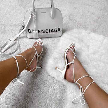 Melissa Mid Heel Lace Up Strap Cross Front Open Toe Sandal In White