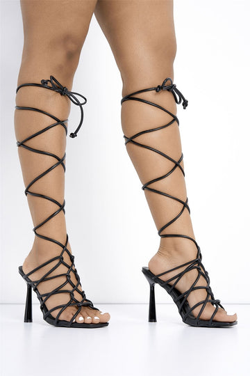 Zai Extreme Lace up Heel in Black