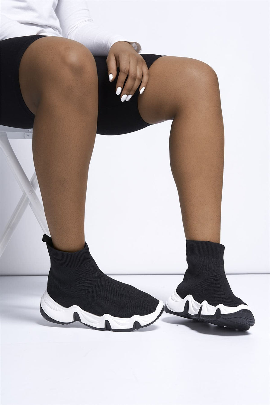 Ava Sock Trainer with Chunky Sole in Black Trainers Miss Diva