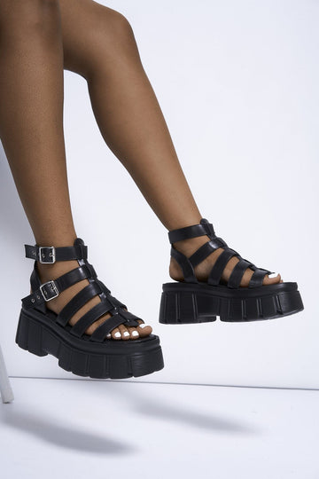 Miv Chunky Gladiator Sandal in Black