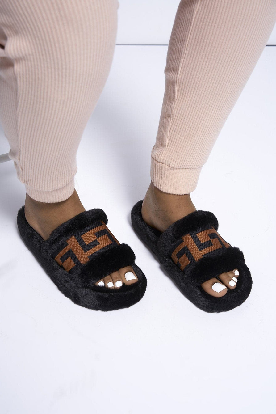 Frances Fluffy Slider with Logo Printed Band in Black Flats Miss Diva