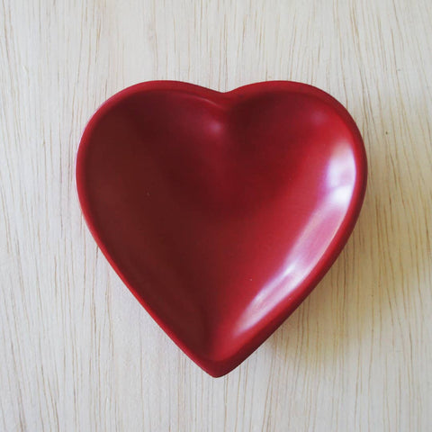 Heart Dish -Plain Red
