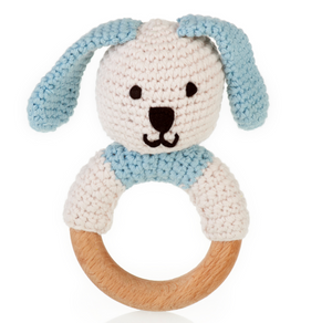 Organic Wooden Teething Ring Bunny-Blue