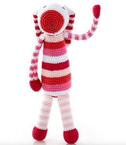 Stripey Bunny Rattle-Pink