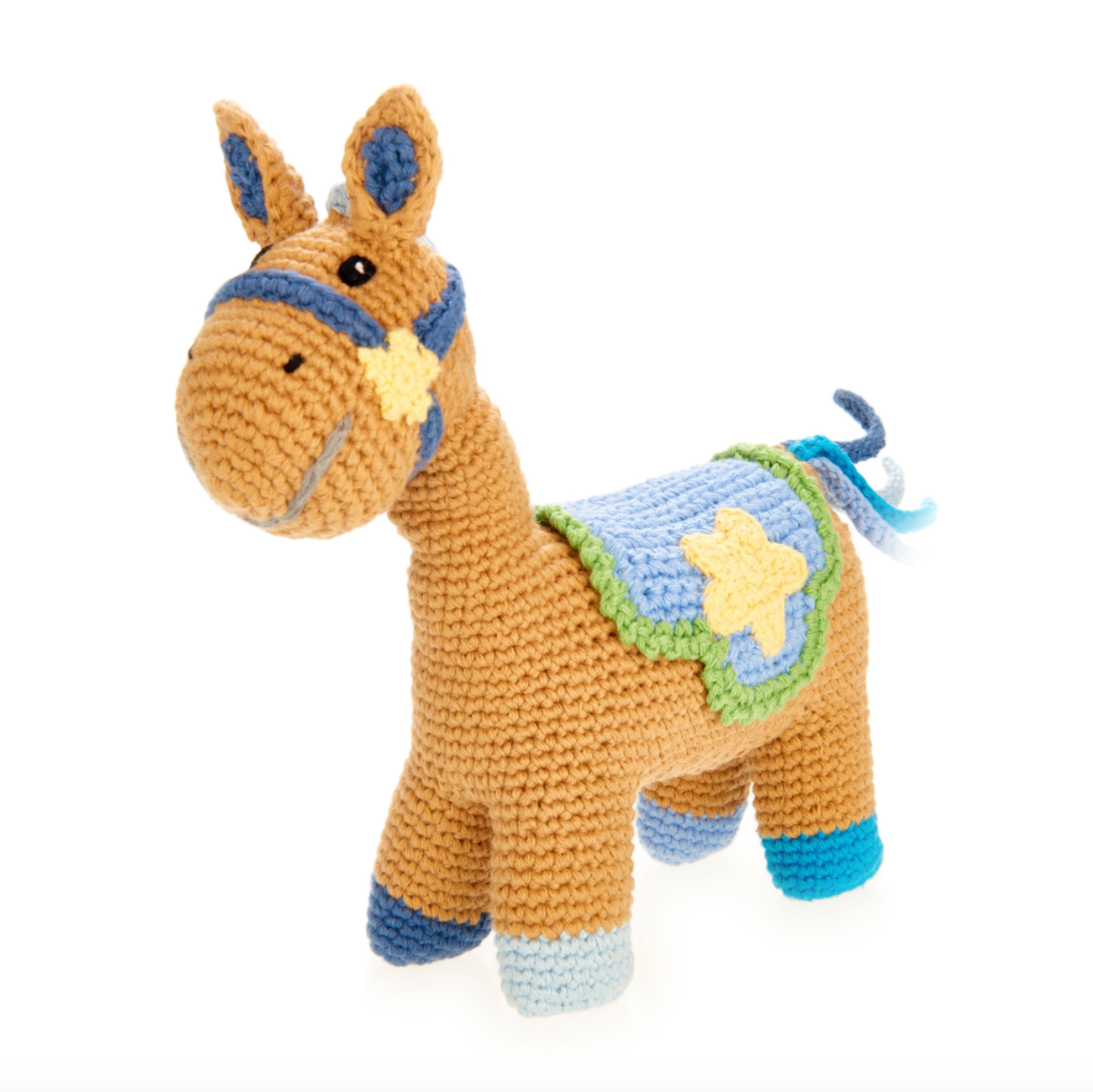 Horse Rattle Toy-Blue
