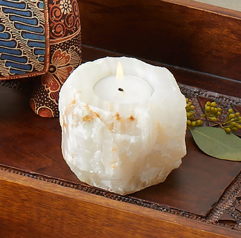Double Sided Onyx Candle Holder