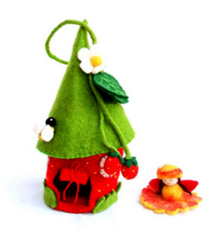 Strawberry Felted Fairy House
