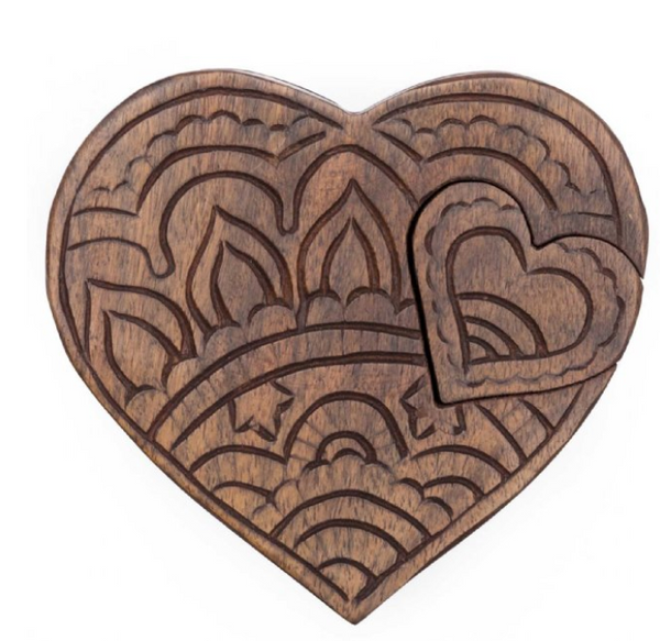 Double Heart Puzzle Box