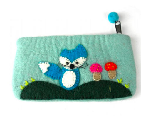 Blue Fox Felted Clutch