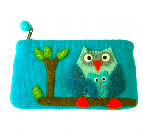 Blue Felt Owl Clutch
