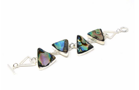 Mexican Taxco Abalone Triangle Silver-Plated Bracelet