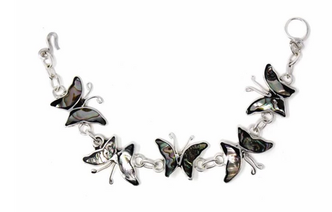 Mexican Taxco Abalone Butterfly Silver-Plated Bracelet
