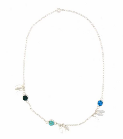 Mexican Taxco Feathers and Turquoise Silver-Plated Necklace