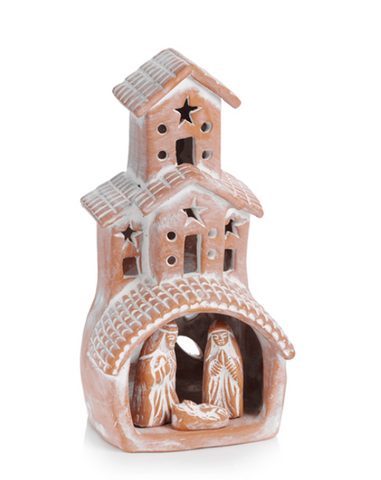 Small Terra Cotta White Washed Nativity