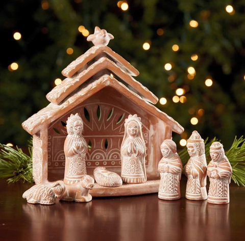 Dove Terra Cotta Whitewashed Nativity