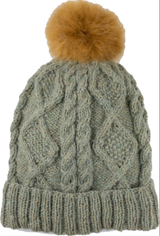 Braided Knit Pom Pom Hat