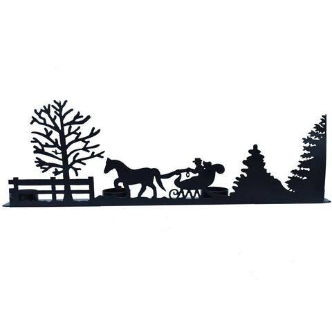 Winter Scene Silhouette and Candle Holder