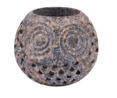 Carved Owl Tealight Holder