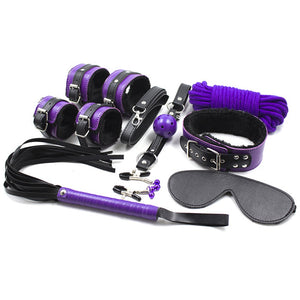 purple Restraints Kits Plush Leather Adult 8pcs/set.