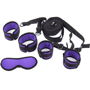 Bed Restraints BDSM Bondage Set Handcuffs Ankle Cuffs Goggles Restraints Purple. - Sex toys  Huge dick anal Plugs XnxxToys.com