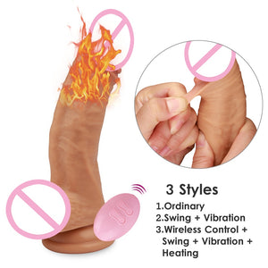 Lifelike huge dick vibrator Swing realistic heating penis body Wireless control. - Sex toys  Huge dick anal Plugs XnxxToys.com