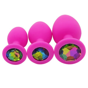 3 Pcs Crystal Jewelry Silicone Butt Plug Colorful.