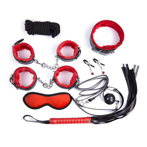 Black And Red Plush PU Leather Couple BDSM Bondage 8pcs/set. - Sex toys  Huge dick anal Plugs XnxxToys.com