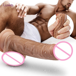 Brown Skin Feeling Bend huge dick Realistic With Suction Cup Double Layer 7/7.7/8/8.7/9.8 Inch. - Sex toys  Huge dick anal Plugs XnxxToys.com