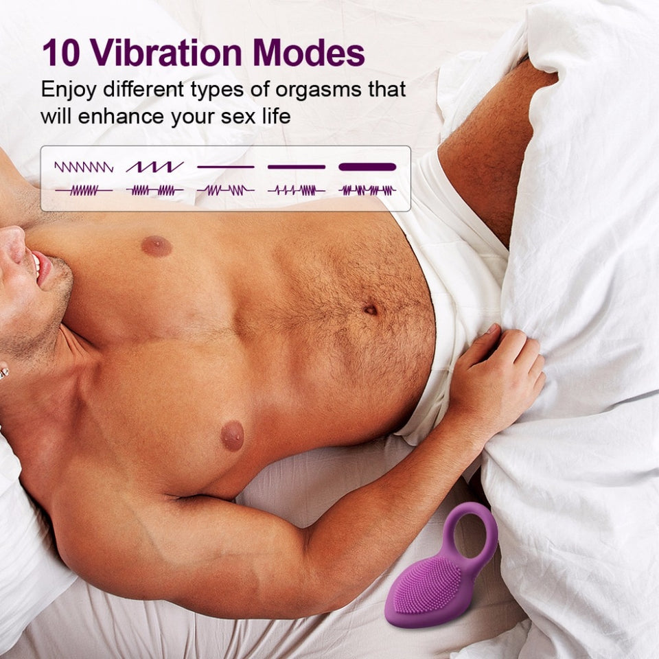 Time Delay Vibrating Cock Ring With Massage Brush USB Charged 10 Speeds . - Sex toys  Huge dick anal Plugs XnxxToys.com