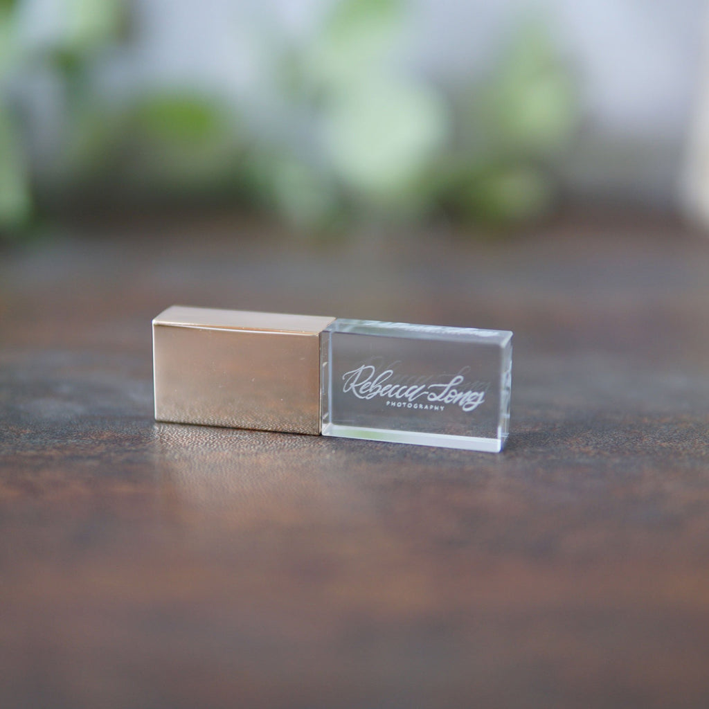 custom glass usb -gold