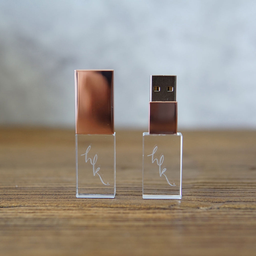 USB 3.0 Crystal Glass USB Flash Drives -Rose Gold