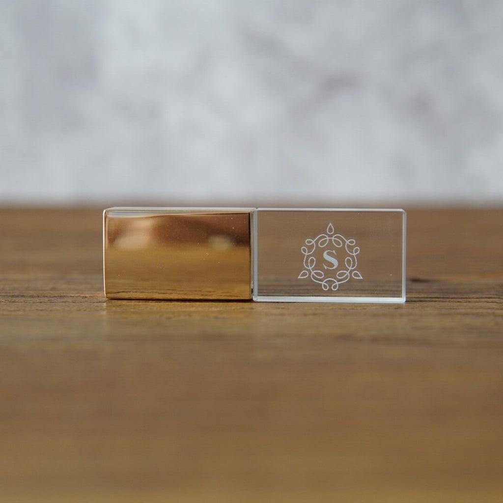 custom crystal usb -gold