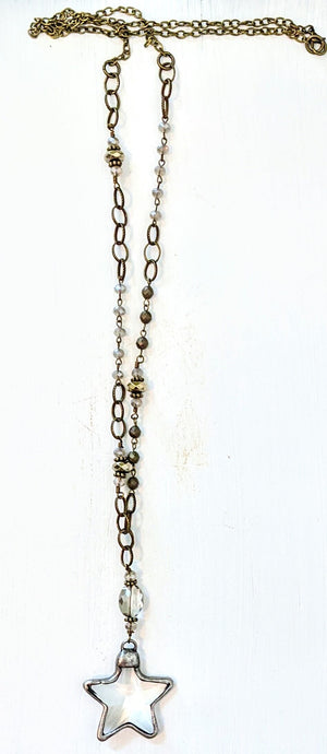 Handmade Crystal Necklace with metallic beads and star crystal