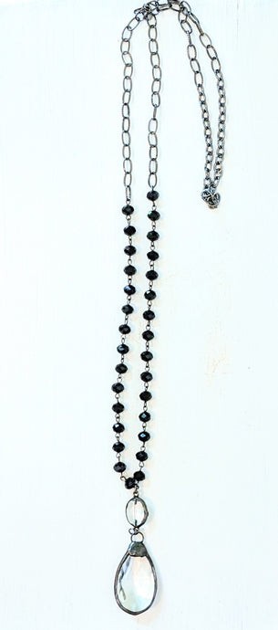 Handmade Crystal Necklace with black beads and oval crystal