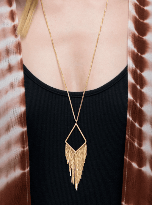 Gold Diamond Pendant with Fringe Necklace