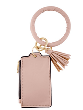 Faux Leather ID Bangle Keychain