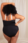 Plus Size Black Tie Front One Piece