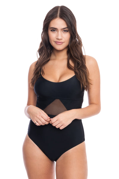 Mesh Cut Out One Piece Swimsuit