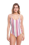 Striped Lace Up One Piece Swimsuit