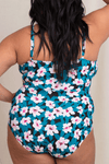 Teal Floral One Piece Swimsuit XS-3X