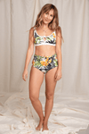 Recycled Bikini Bottom | Floral Palm Print