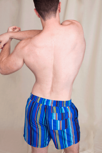 Vertical Strip Recycled Swim Trunks for Men