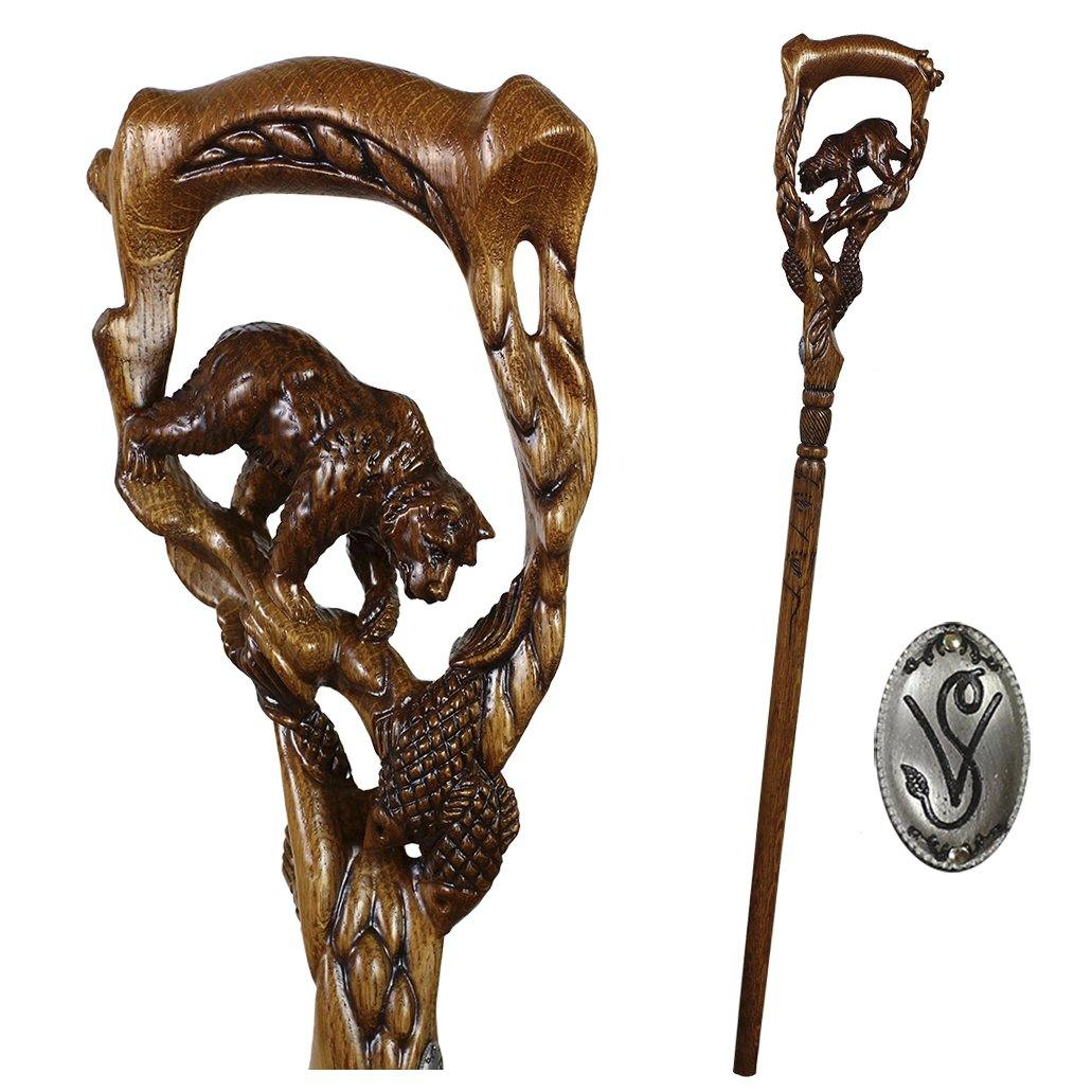 Grizzly Bear &Salmon Cane Dark Wooden walking stick - GC-Artis Walking Sticks Canes