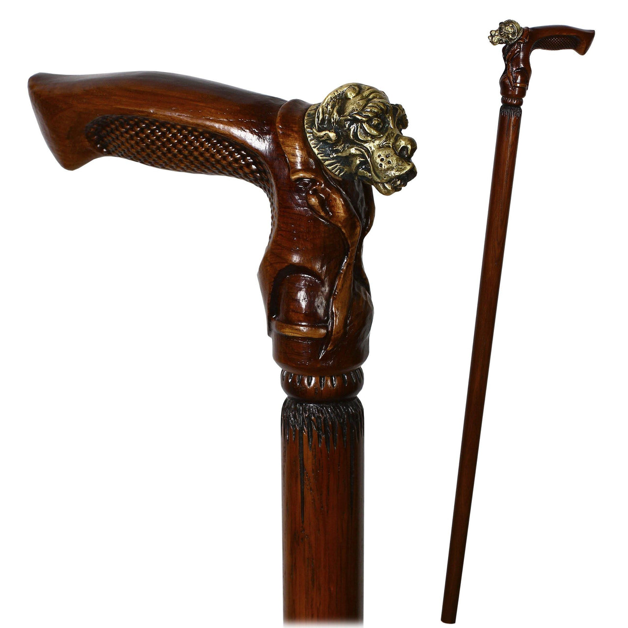 Bull Dog Solid Brass & Wood Walking Stick Cane - GC-Artis Walking Sticks Canes