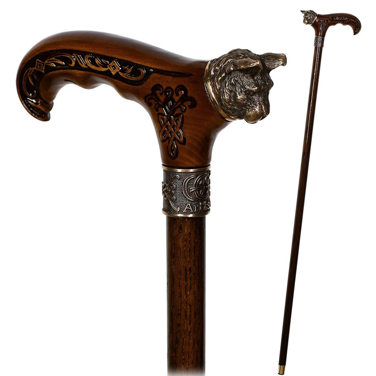 Wild Cat Gentleman Wooden Cane Walking Stick Bronze - GC-Artis Walking Sticks Canes