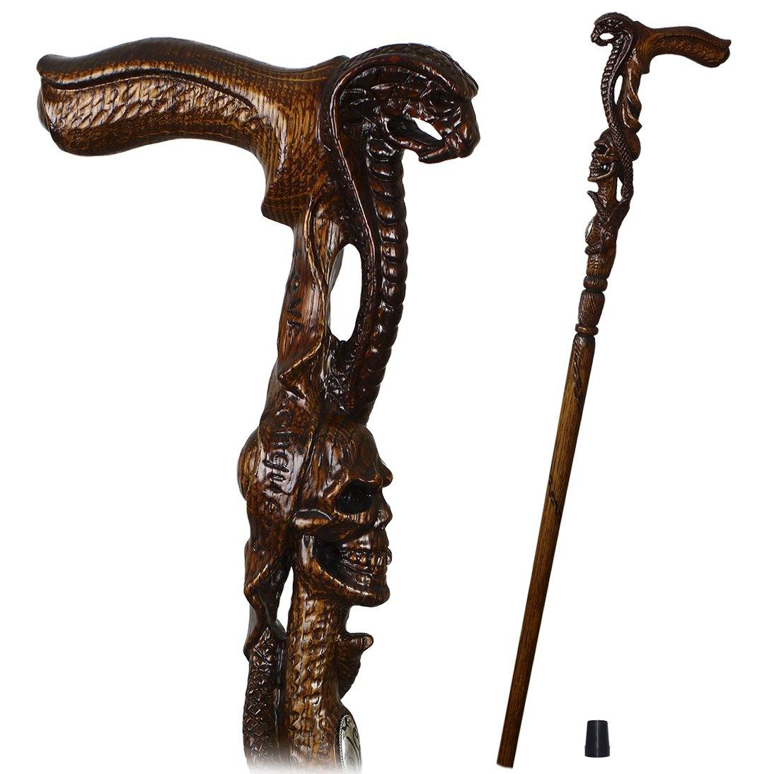 COBRA Snake with SKULL Cane Walking Stick Dark Wooden - GC-Artis Walking Sticks Canes