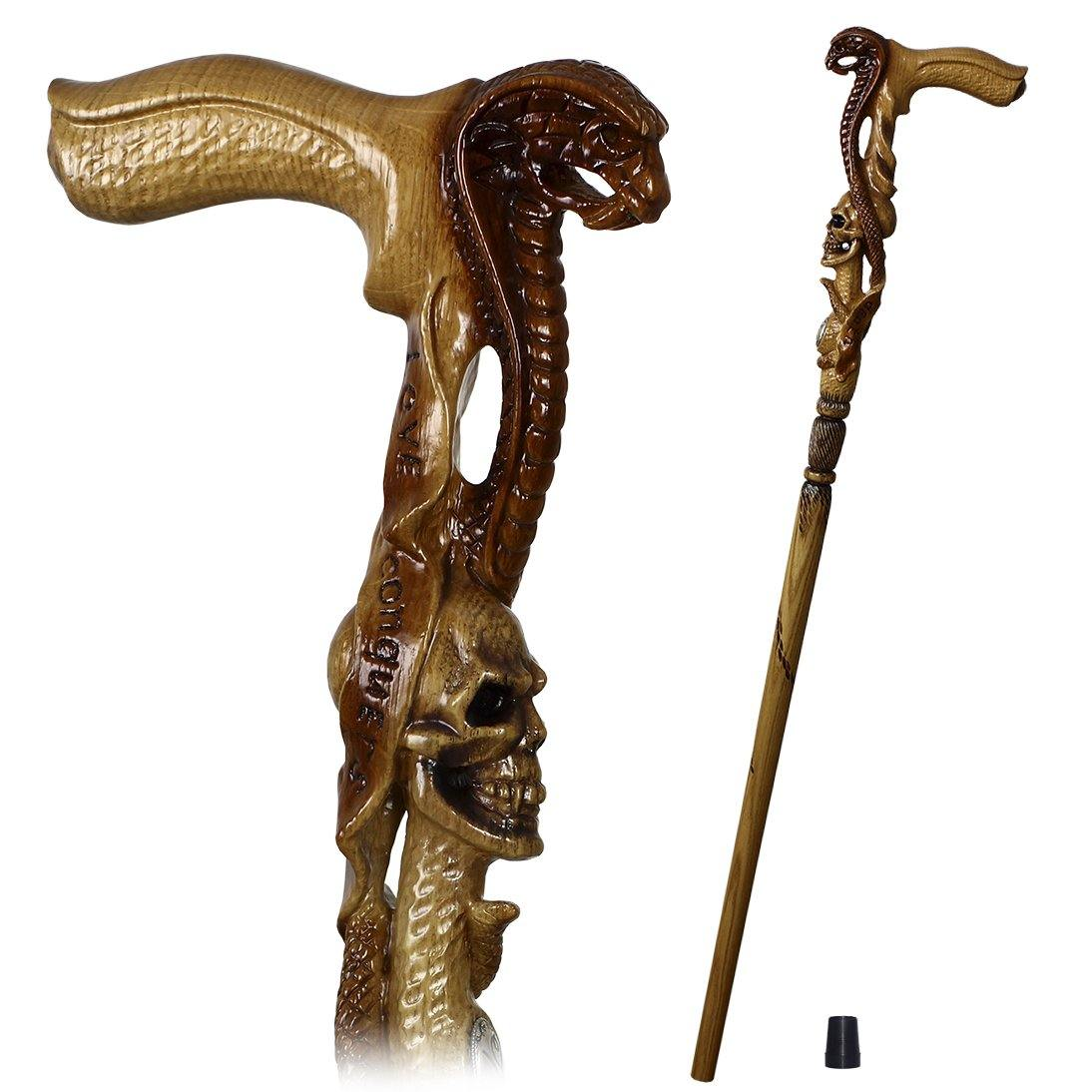 Snake Cobra & Skull wooden walking cane stick hiking Staff light - GC-Artis Walking Sticks Canes