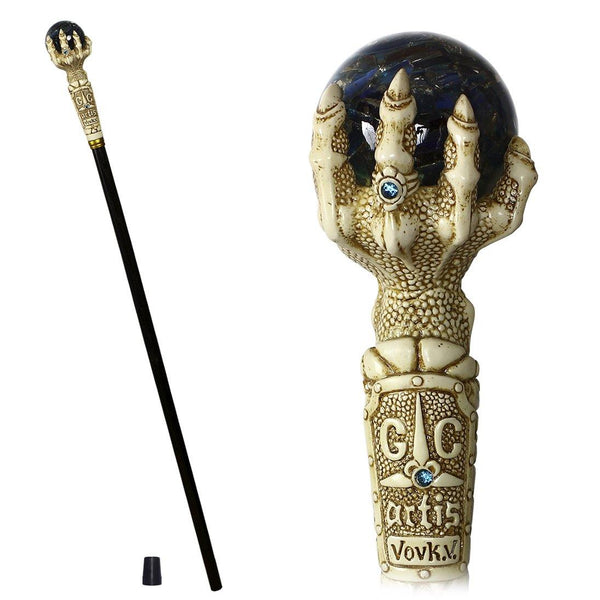 FANTASY DRAGON CLAW Cane Walking stick blue magic crystall ball - GC-Artis Walking Sticks Canes