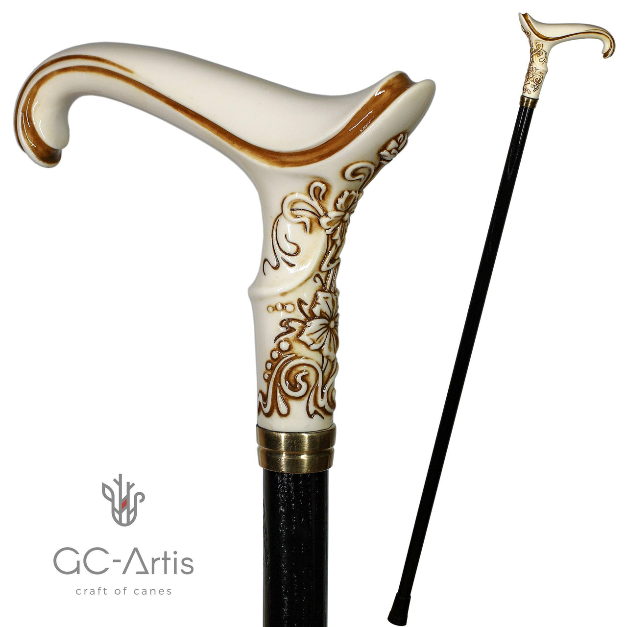 Elegy Elegant Pretty Walking stick cane white Ivory color - GC-Artis Walking Sticks Canes