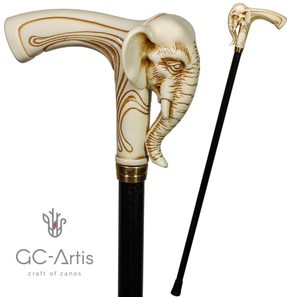 Elephant Ivory Color hand made Walking Stick Cane - GC-Artis Walking Sticks Canes